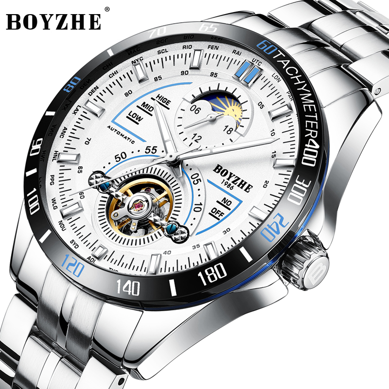 цена на BOYZHE Automatic Mechanical Wtches Men Stainless Steel Band Sport Tourbillon Watch Men Moon Phase Calendar Luminous Montre Homme