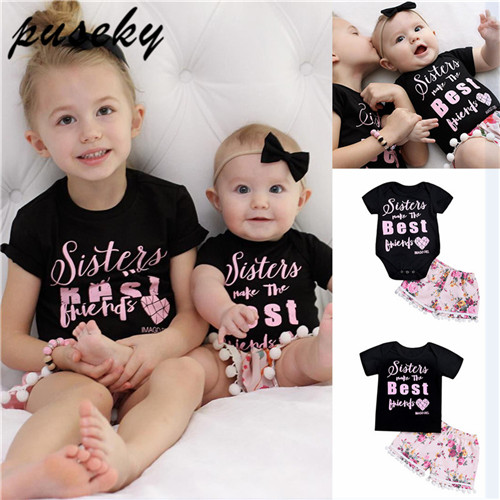 Mother & Kids Puseky 2018 Summer Family Match Clothes Best Friend Toddler Kids T-shirt Baby Romper Bodysuit Short Sleeve Floral Pants Outfits