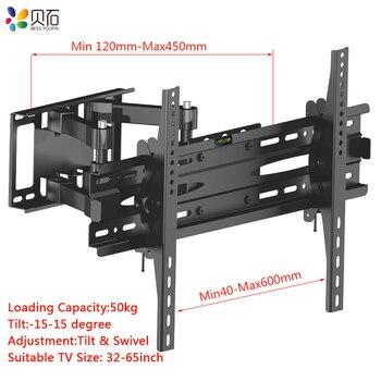 """Montaje en pared de TV para la mayoría de 32 """"-65"""" TV brazo articulado doble soporte giratorio de inclinación de movimiento completo soporte de pantalla plana de Plasma LCD LED"""