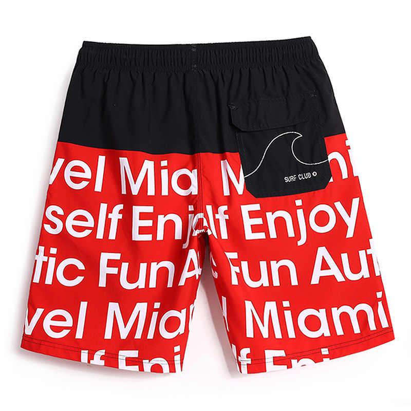 Mens Summer Hot Sale Men's Beach Boardshort 2018 Sport Clothing Quick-Drying bermudas Stripe Whit Lining