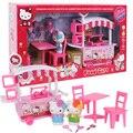 Nova Olá Kitty Casa Educacional Brinquedos De Plástico Em Miniatura Casa De Bonecas da Minha Casa de Conto-de Jantar Carro Meninas Brinquedos Crianças Presentes casa de boneca
