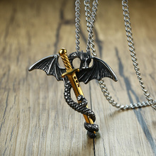 Stainless Steel Dragon on Sword Vintage Pendant for Men with 24″ Chain