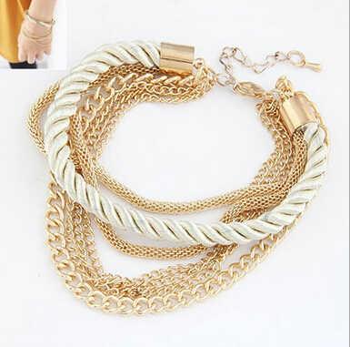 送料無料ファッション多層チャームブレスレット誇張ゴールドチェーンブレスレットファム高品質の手織りロープジュエリー