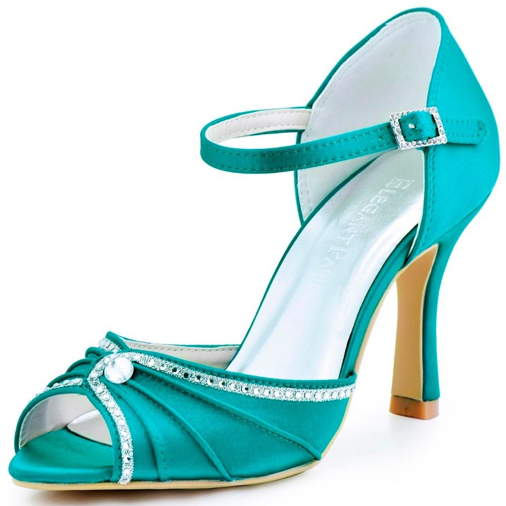 Woman Shoes Teal High Heel Buckle Pumps Rhinestones Satin Bride Wedding  Shoes Bridesmaid Evening Prom Party Sandals EL-033 dc0221d8ae8e