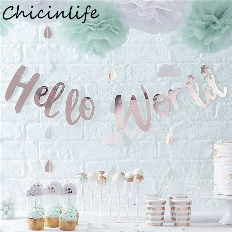 Chicinlife 1Pcs Laser/Rosegold/Silver Hello World Shiny Bunting Banner Baby Shower Sign Backdrop Kids Party Decoration Supplies