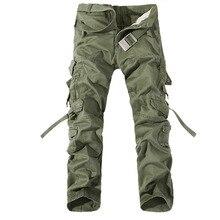2019 Yeni erkek kargo pantolon ordu yeşil büyük cepler dekorasyon erkek günlük pantolon kolay yıkama erkek sonbahar ordu pantolon artı boyutu 42