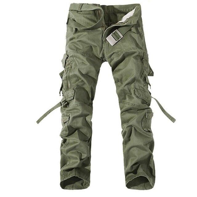 2019 ใหม่ของผู้ชาย army สีเขียวขนาดใหญ่กระเป๋าตกแต่ง mens Casual กางเกง easy ฤดูใบไม้ร่วงกองทัพกางเกงขนาด 42
