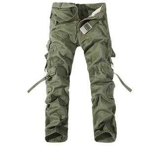 Image 1 - 2019 nowe męskie spodnie bojówki zieleń wojskowa duże kieszenie dekoracje męskie spodnie typu casual łatwe pranie męskie jesienne spodnie wojskowe plus rozmiar 42