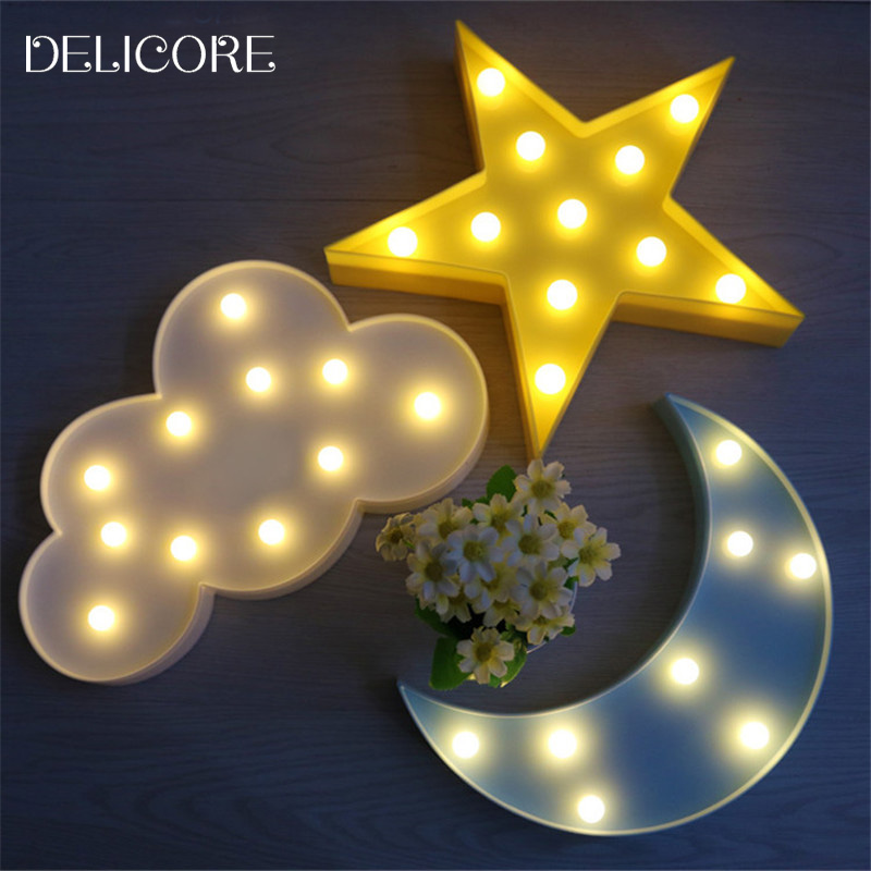 DELICORE Lovely Cloud Light 3D Star Moon Night Light LED Cute Marquee Sign  For Baby Children Bedroom Decor Kids Gift Toy M02. Online Get Cheap Led Moon Light  Aliexpress com   Alibaba Group