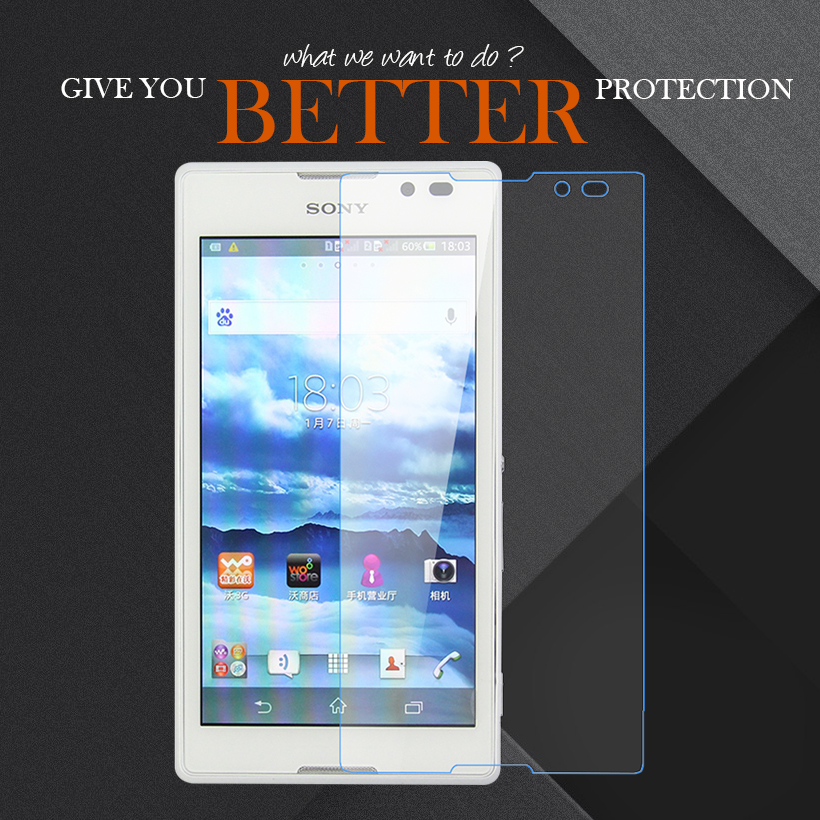 AKABEILA For Sony Xperia C S39h C2305 5.0 inch Tempered Glass Temperli Cam Steel Protector Screen Film wholesale