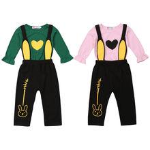 цена на Toddler Baby Girls Long Sleeve T Shirt Heart Print Tops Bib Rabbit Pants Leggings Outfits Clothes Set 2019 2019