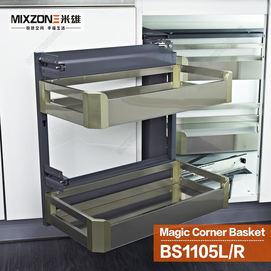 Eco Friendly Stainless Steel Kitchen Cabinet Magic Corner Sliding Basket Pantry Dish Storage Pull Out Drawer Mixzone Bs1105l In Baskets From Home