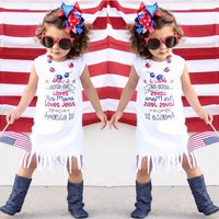 Baby Girls Kids 4th July Summer Fringe Tassels Outfits Dress She Is Good Girl Arrow Love