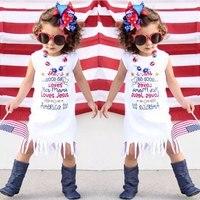 Baby Girls Kids 4th July Summer Fringe Tassels Outfits Dress She Is Good Girl Arrow Love