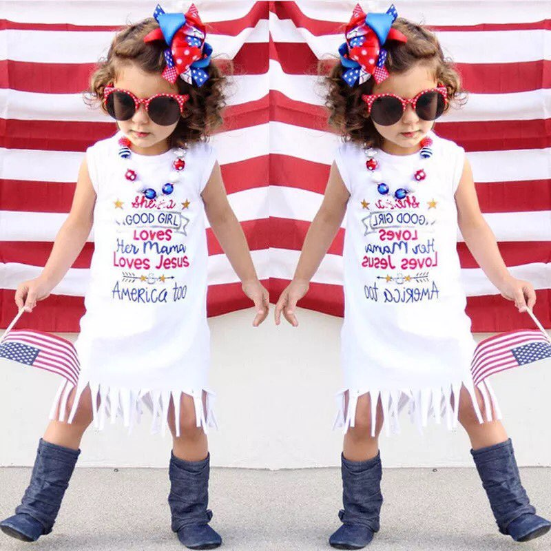 Mother Daughter Matching American Flag 4th of July Tassel Dress for Women Girls