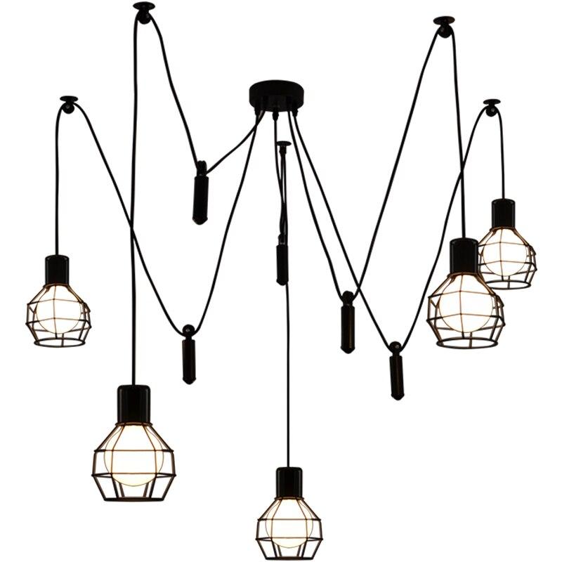 Nouveauté poulie suspension lampe araignée suspendue E27 loft éclairage industriel candélabre cuisine salle à manger araignée suspension lumière