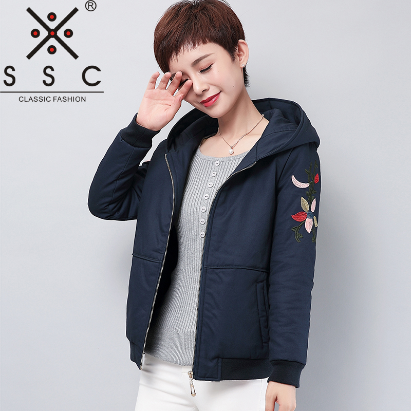 2017 short winter bomber jacket women Leisure Printing Long sleeves Cotton parka middle aged plus size 4XL 5XL Casual outerwear inc international concepts women s long sleeves cotton blouse 4 candy pink