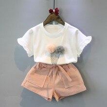 цены на Baby Girl Clothes Summer 2016 Girls Clothing Set Short Sleeve O-Neck White Ice Cream Shirt+Shorts Set Girls Outfits 2 Piece Set  в интернет-магазинах