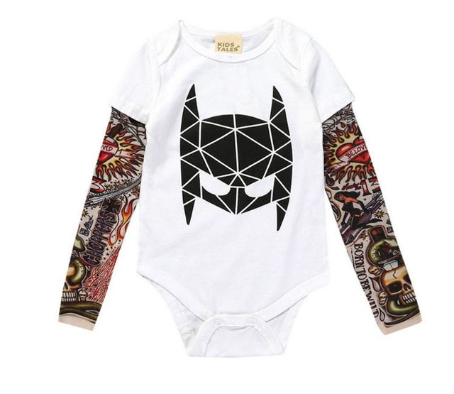 d48160287c9 0-3yrs Baby Boys Girls Rompers New 2018 Unisex Tattoo Sleeve Toddler  Jumpsuits For Kids Baby Fashion One Piece Clothes