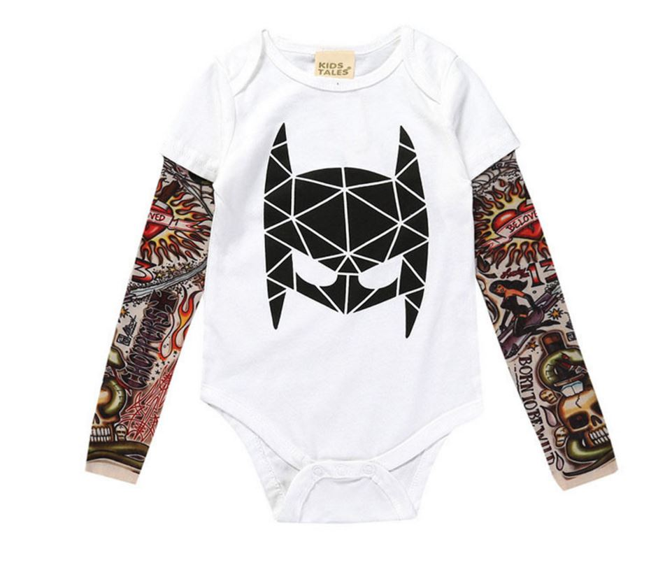 0-3yrs Baby Boys Girls Rompers New 2018 Unisex Tattoo Sleeve Toddler Jumpsuits For Kids Baby Fashion One Piece Clothes