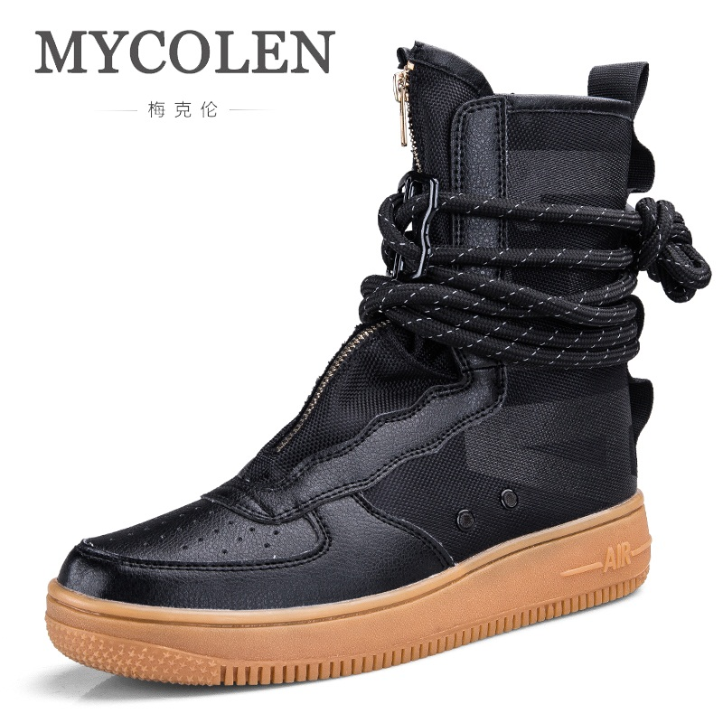 MYCOLEN Top New Men Boots Fashion Brand Fashion Casual High Shoes Style High Quality Lace-Up Classic Leather Ankle Erkek Bot цена