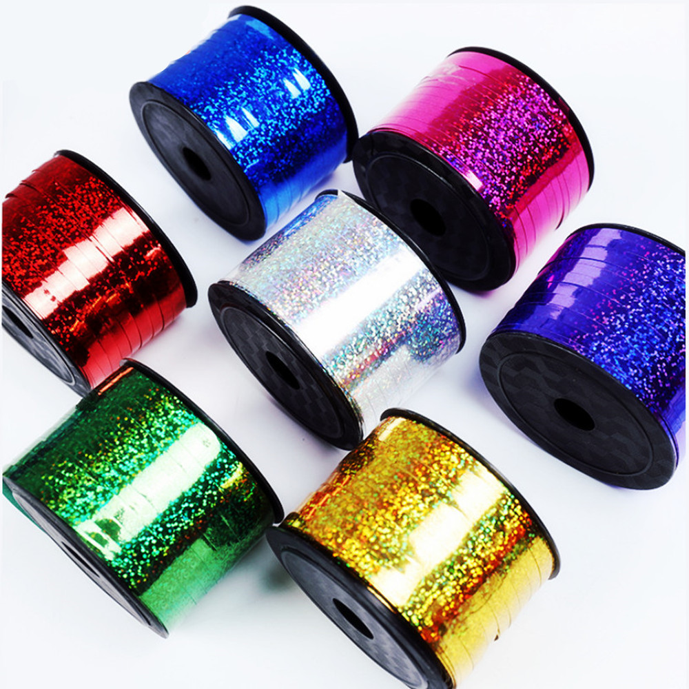 BINGTIAN New 0.5cm*100m Prism Hoop Holographic Tape For Gift Packing Adhesive Laser Tape Balloon Ribbon Gold Glitter Balloon