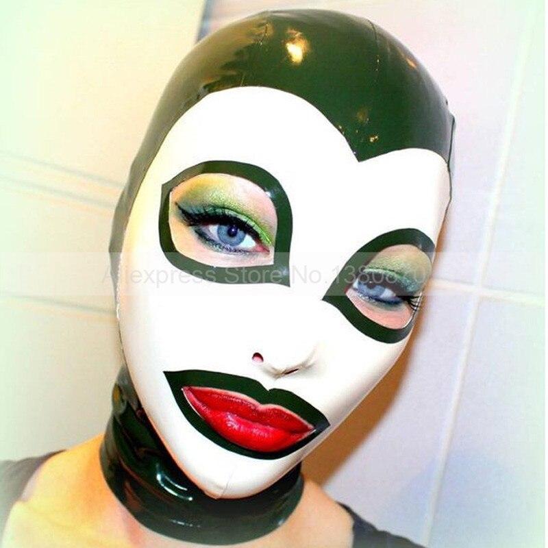 Szexi Latex Hood gumi maszk kézzel készített jelmezek S-LM157