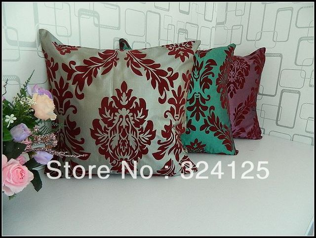 "Wholesale Free Shipping 5pcs 3 color European style Taffeta Flocking pillow cover Cushion cases 18 "" 45X45CM"