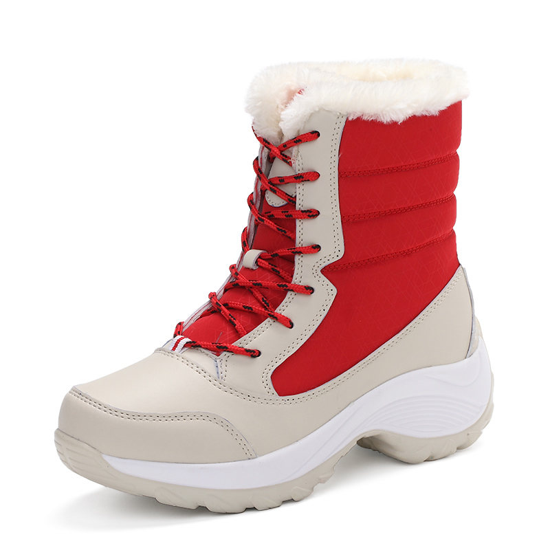 Women's Boots with Plush Inside Mid-Calf Winter Warm Snow Boots Shoes for Girls Ladies Fashion Outdoor High Top Boot Plus Size yin qi shi man winter outdoor shoes hiking camping trip high top hiking boots cow leather durable female plush warm outdoor boot