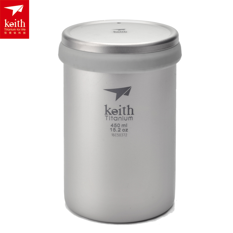 Keith 450ml Outdoor Camping Titanium Cup Double Wall Water Mug With Lid Portable Tea Cup Ti3521 keith ks811 outdoor titanium water mug silver grey