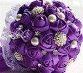 Оптовая искусственный горный хрусталь свадебные букеты кристаллические ювелирные изделия перл букет свадебные цветы фиолетовый шелковый fall свадебные