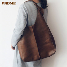 PNDME handmade genuine leather women composite bag shoulder cowhide handbags Wristlets holdall for womens