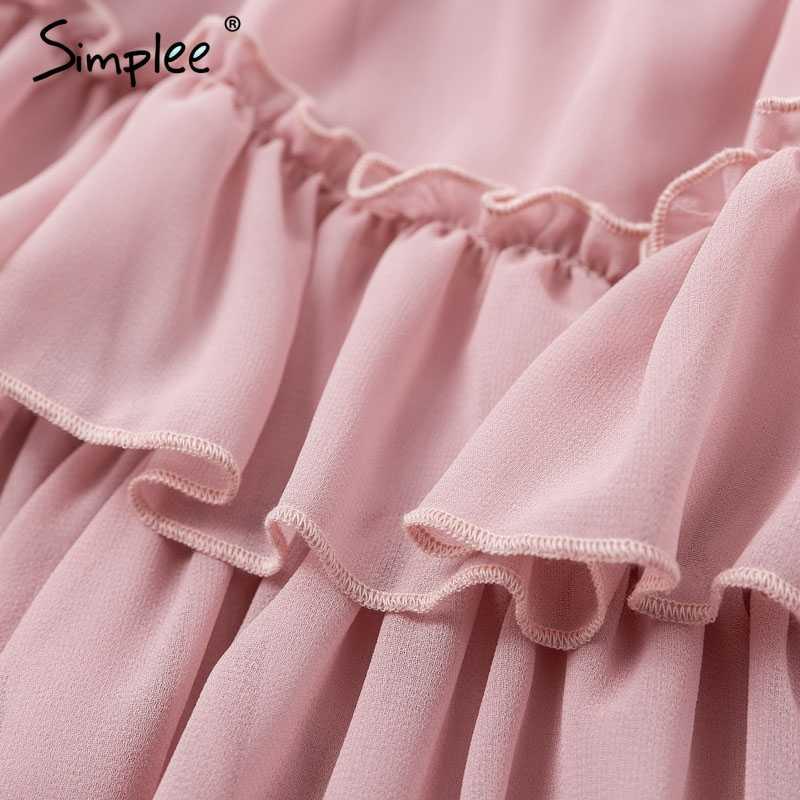 Женский розовый короткий сарафан Simplee, элегантное повседневное шифоновое платье с открытыми плечами для праздника, женское платье с узкими бретельками