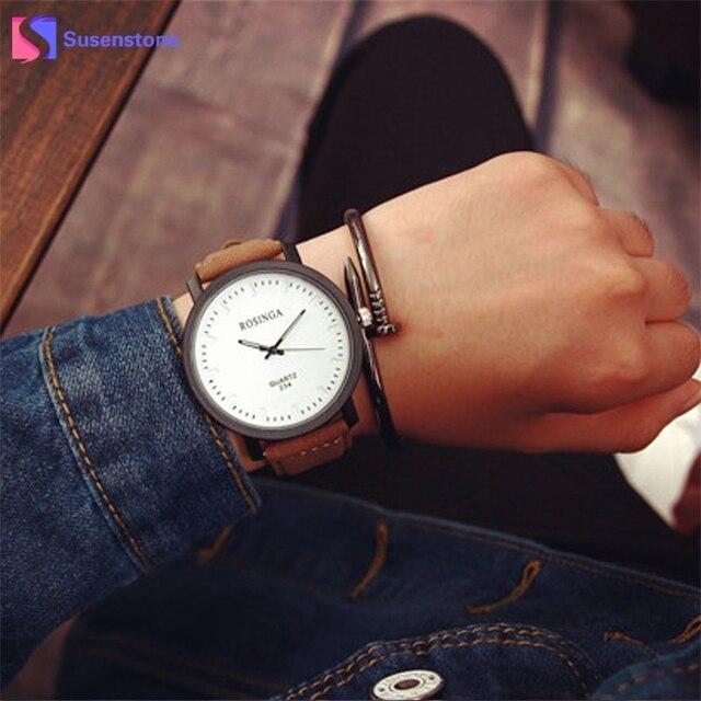 32e1fb1f4efd 2018 New Couple Lover Watches Big Dial Quartz Wrist Watch Men Women Analog  Faux Leather Bracelet