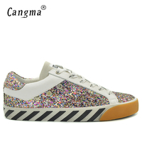 CANGMA British Style Men Sequin Shoes Glitter Pink Old Skool Shoes Genuine Leather Handmade Male Adult