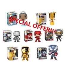 Original Funko pop Marvel  DC Theme Flash Captain America Wasp Iron Man Groot War Machine Disney Tiana Action Figure Model Toys
