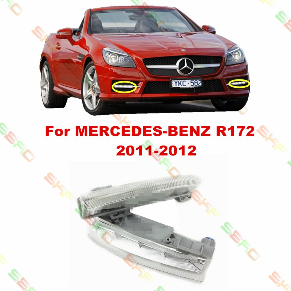 For MERCEDES-BENZ SLK R172  2011-2012  car styling fog light  led Daytime running lights  1 SET for mercedes benz slk r171 2004 2011 led car license plate light number frame lamp high quality led lights