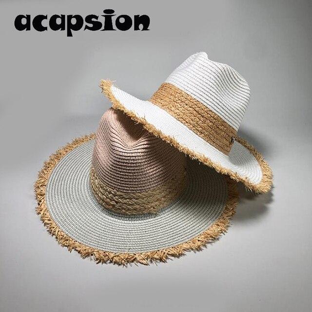 30ccda2d Gorra de verano informal Panamá con retazos para mujeres gorras sombrero  paja playa hombres gorra protección UV chapeau Femme