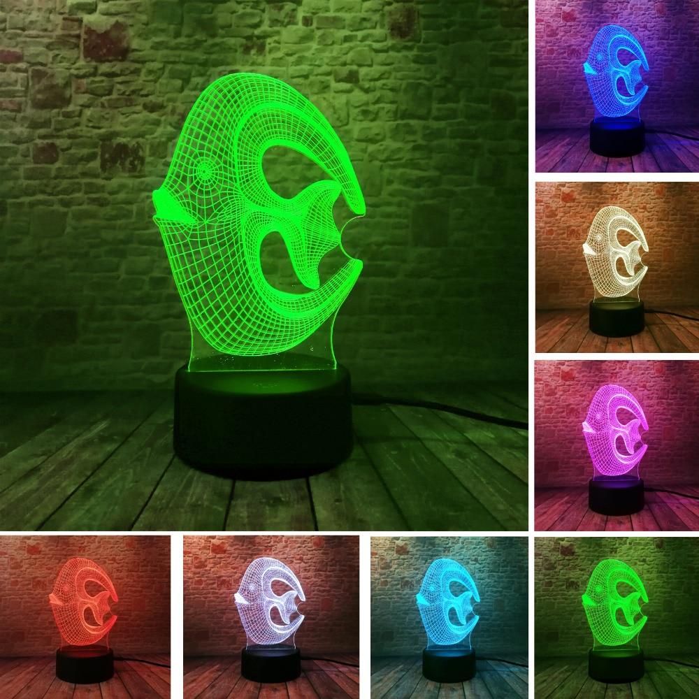Colorful Creative 3D Coral Fish Nightlight LED Sleeping Table Mood Bedroom Livingroom Cafe Bar Lights Christmas New Year Gifts