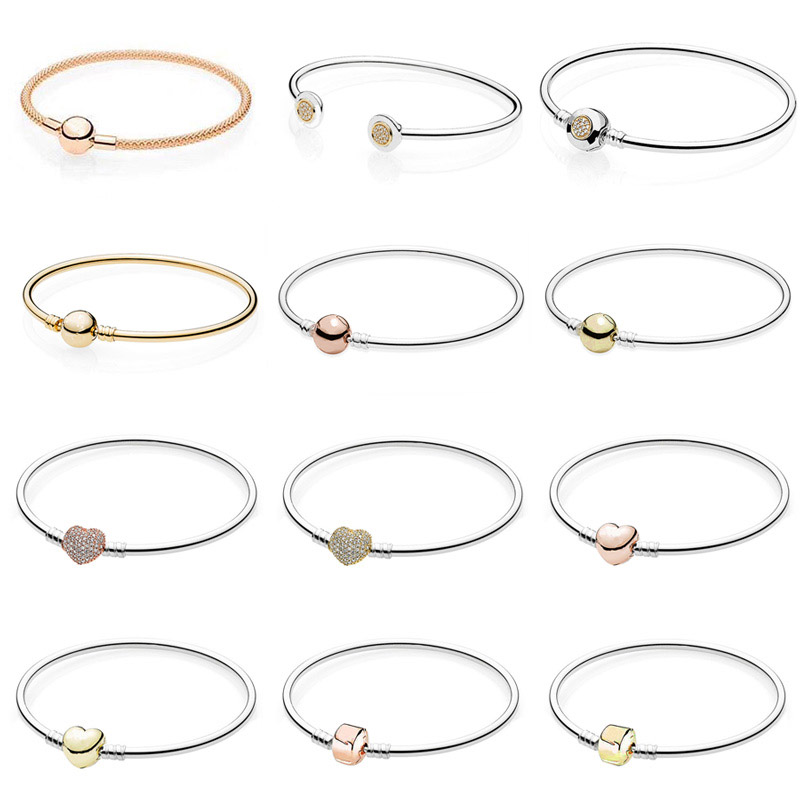 Rose Gold MOMENTS Mesh Bangle Love Heart Two-Tone Signature Open Bangle Fit Pandora Bracelet 925 Sterling Silver Bead Charm стоимость