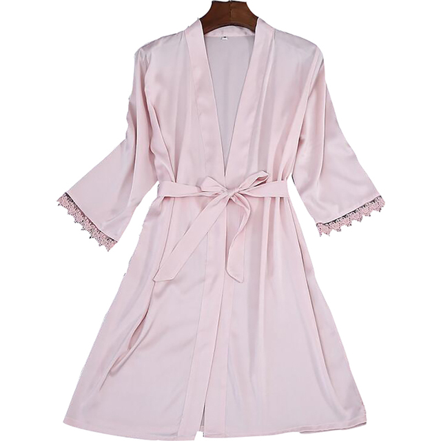 Silk Polyester Half Sleeve Lace Cuffs Solid Robes with Belt Dressing Gowns  for Women Cardigan Stain Robes Nightwear Home Clothes 21de51959