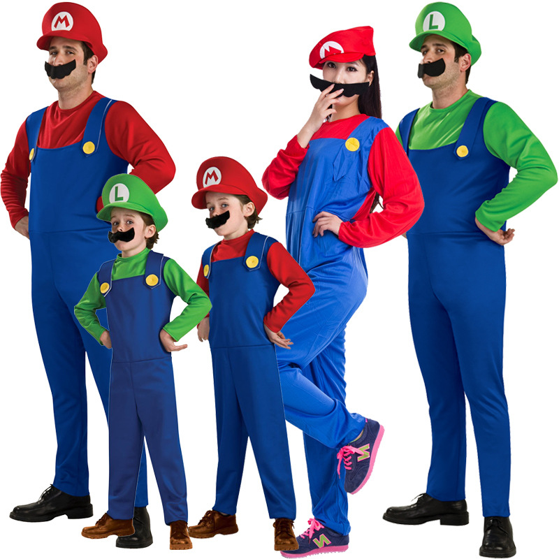 Family matching Funy Halloween Cosplay Costume Super Mario Luigi Brothers Fancy Dress Up Party Cute Costume