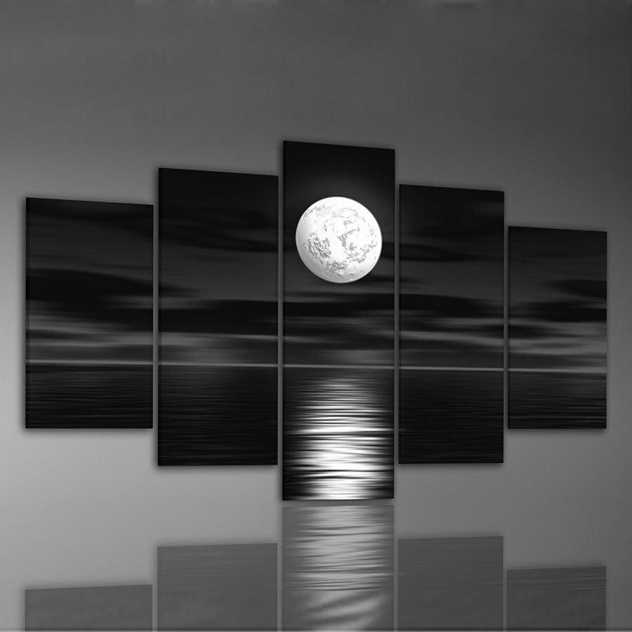 יד שצויר שמן קיר אמנות ים ירח מלא לילה - עיצוב לבית