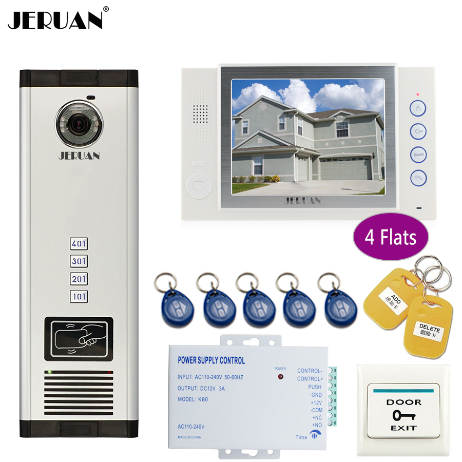 JERUAN 8`` LCD Monitor 700TVL Camera Apartment video door phone 4 kit+Access Control Home Security Kit+free shipping+8GB Card 8 4inch 8 4 non touch industrial control lcd monitor vga interface white open frame metal shell tft type 4 3 800 600
