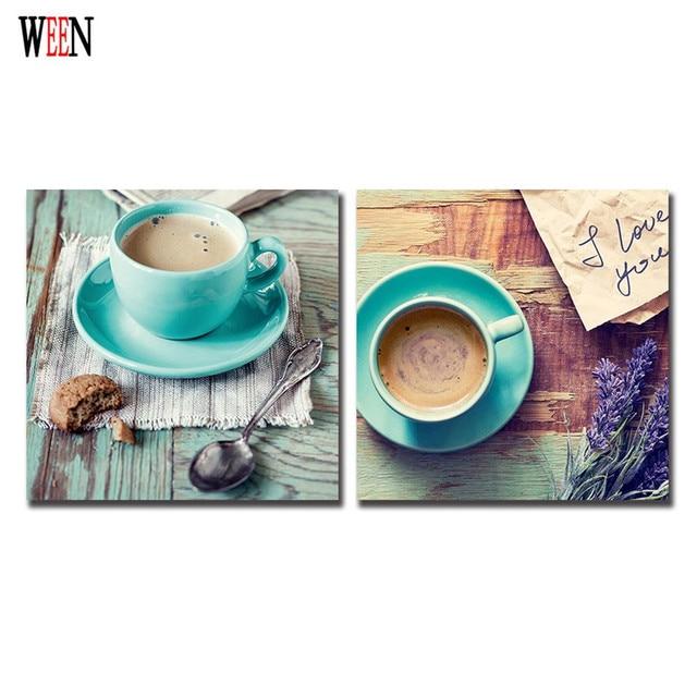 Caffè Parete Quadri Su Tela Allungato E Incorniciato Per La cucina ...