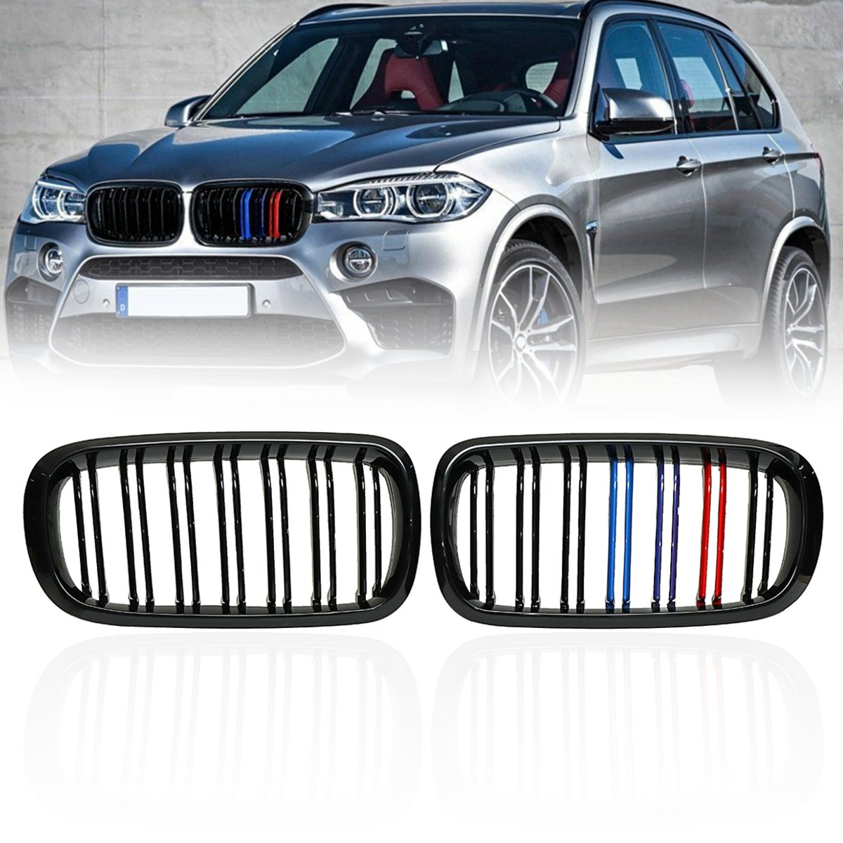 #27-F15MFG3C Pair Matte Gloss Black M Color Front Double Slat Kidney Grille For BMW F86 F15 F16 X5 X6 X5M F85 X6M F86 2014 2015 x5 x6 m performance sport design m color front grill dual slat kidney custom auto grille fit for bmw 2015 2016 f15 f16 suv