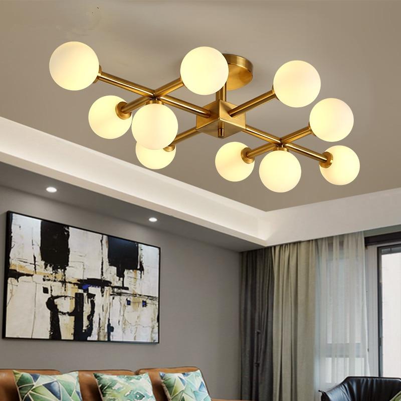Abajur lamparas de techo Nordic Living Room G9 Ceiling LED Lamps Glass Lampshade Bedroom Indoor Hanging