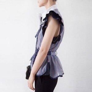 Image 2 - TWOTWINSTYLE פסים Hit צבע טלאים נשים חולצה צווארון עומד שרוולים קפלי טוניקת חולצה נשי אופנה 2020 קיץ