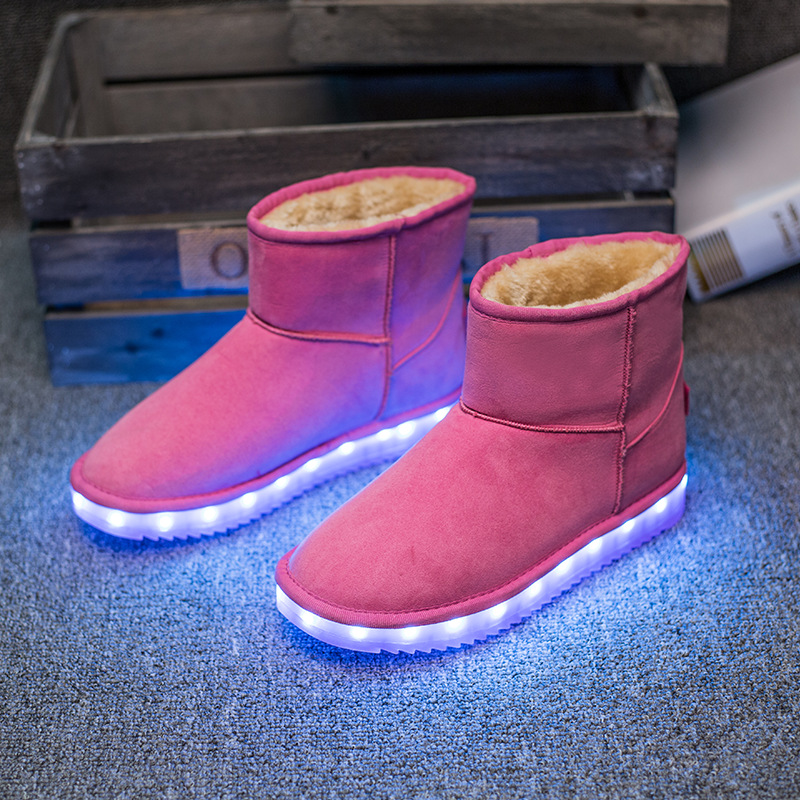 Kids Luminous Shoes Girls Boys Boots LED Winter Children Boots Thick Warm Snow Boots USB Rechargeable LED Shoes Eur 25-40 2016 new winter kids snow boots children warm thick waterproof martin boots girls boys fashion soft buckle shoes baby snow boots