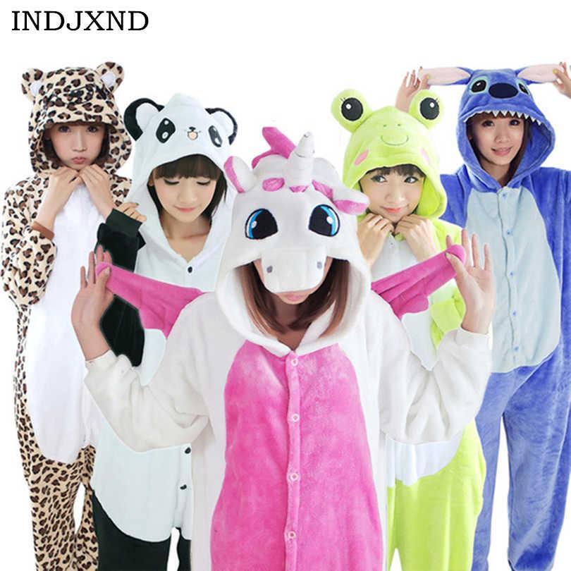 462a3a5c865f INDJXND Wholesale Autumn Winter Unicorn Jumpsuit Stitch Animal Flannel Soft  Pajamas Sets Cartoon Playsuits For Adult